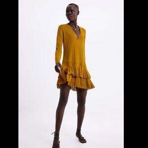 ZARA Mustard Long Sleeve Ruffle Dress